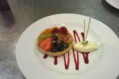 Apricot glazed fruit tart with crème chiboust