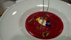 Beetroot soup with crème fraîche and toasted seeds